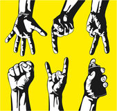 手势在向量中的手一套 — 图库矢量图片