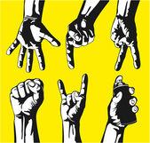 Set van gebaren van handen in een vector — Stockvector