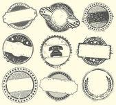 抽象套的案文的空位置矢量邮票 — 图库矢量图片