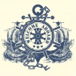 Royalty-Free Stock Vector Image: Stamp with a steering wheel an anchor a chain and the ancient ships