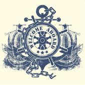 Stempel met een stuurwiel een anker een ketting en de oude schepen — Stockvector