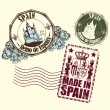 Rubber stamp of Spain with a medieval castle and the arms — Imagen vectorial