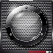 Black glass circle on a metal grid. Vector illustration — Stock Vector