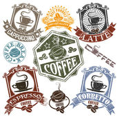 Set of rubber stamps with the name of coffee drinks and cups. Vector — Stock Vector
