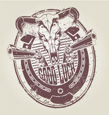 Rubber stamp with a horseshoe revolvers and a skull of a bull. vector — Stok Vektör