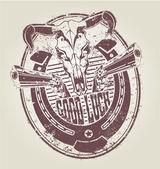 At nalı tabancalar ve boğa bir kafatası ile lastik damga. vektör — Stok Vektör