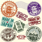 Set of rubber stamps. Asian countries. vector — Stock Vector