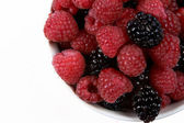 Fresh Raspberries and Blackberries — Stock Photo