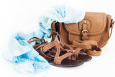 Summer shoes, bag and scarf — Stock Photo