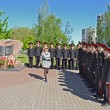 Victory Day. Cadets at a monument to the soldiers who were lost in Afghanistan. — Stock Photo