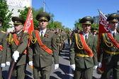 Victory Day. Ahead - standard-bearers. — Stock Photo
