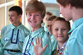On a Victory Day holiday.Young actors. — Stock Photo