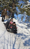 Driving on a sledge from an ice slope. — Stock Photo