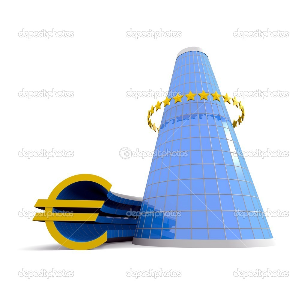 Business building with euro symbol — Stock Photo #10248586
