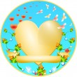 Golden Heart with a flower ornament — Stock Vector #8237920