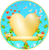 Golden Heart with a flower ornament — Stock Vector