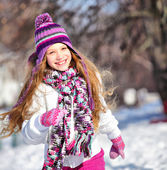 Girl Running in winter — Stock Photo