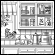 Retro kitchen black and white — Stock Vector