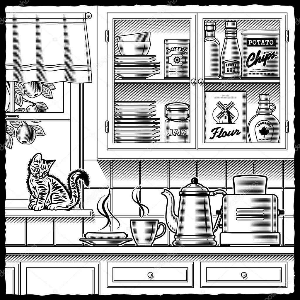 Retro Kitchen Illustration: Retro Kitchen Black And White