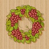 Guirnalda de uvas retro — Vector de stock