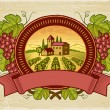 Grapes harvest label - Vettoriali Stock