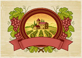 Grapes harvest label — Stock Vector