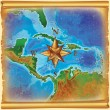 Caribbean islands map — Stock Photo