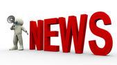 3d man news announcement — Stock Photo
