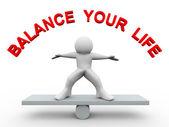 3d man - balance your life — Stock Photo