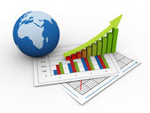 3d global financial growth — Stock Photo
