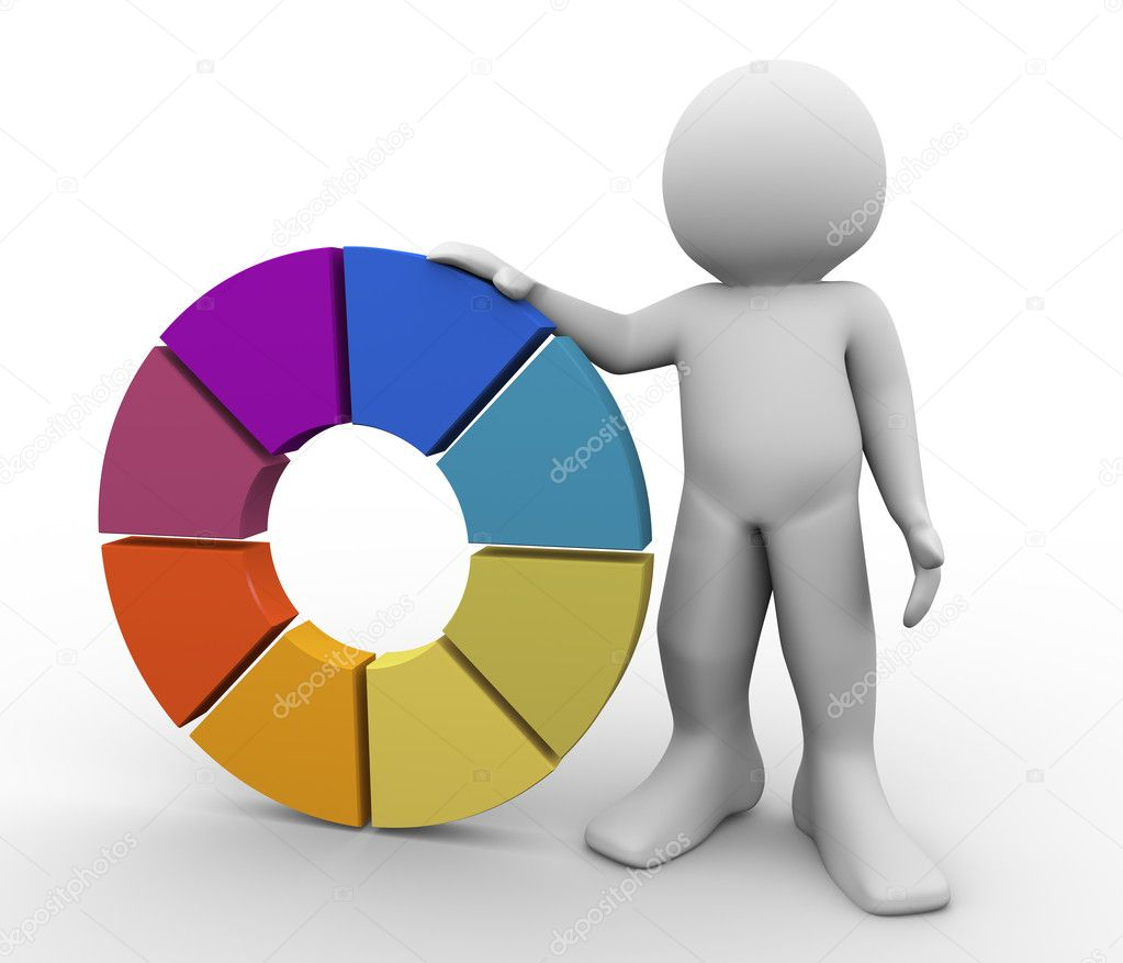 3d render of man with color wheel. 3d illustration of human character. — Stock Photo #10165564