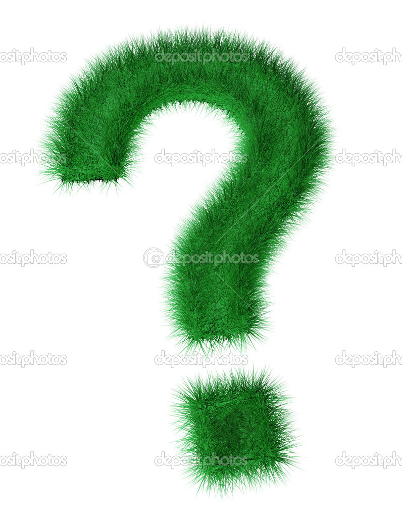 3d render of question mark created with grass.  Stock Photo #10341890