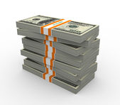 3d stack of dollar packs — Foto de Stock