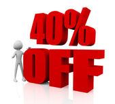 Sprzedaż promocji tekst 40 procent off — Zdjęcie stockowe