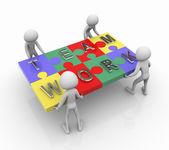 Trabajo en equipo puzzle — Foto de Stock