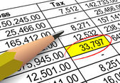 Pointing out tax deduction amount — Stock Photo