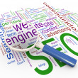 Magnifier and Wordcloud of SEO — Stock Photo