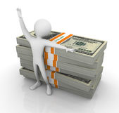 3d man with stoack of dollar — Foto Stock