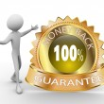 Golden money back guarantee — Stock Photo