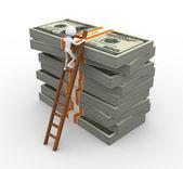 3d muž s skládaný dolar balíčky — Stock fotografie