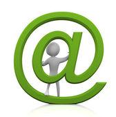 3d człowiek z e-mail znak — Zdjęcie stockowe