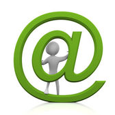3d-man met e-mail teken — Stockfoto