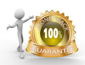 Golden money back guarantee — Stock Photo