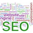 Foto Stock: Wordcloud of SEO - Search Engine optimization