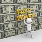 3d man pasting make money text — Stock Photo #8722463