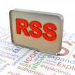 3d RSS on rss wordcloud background — Lizenzfreies Foto