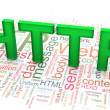 3d text 'HTTP' on the http wordclod background — 图库照片