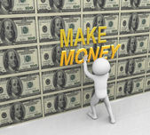 3d man pasting make money text — Stock Photo