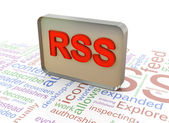 3d rss rss wordcloud fundo — Fotografia Stock