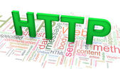 3d text 'HTTP' on the http wordclod background — Stok fotoğraf